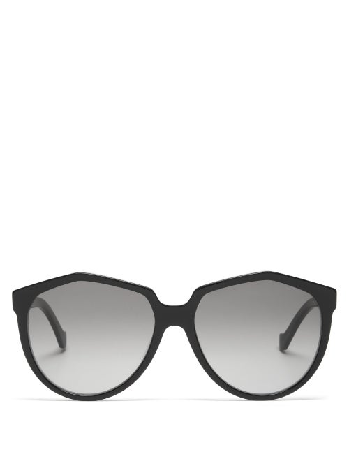 Loewe - Oversized Round Acetate Sunglasses - Womens - Black