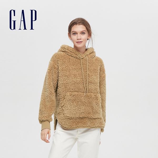Gap女裝 仿羊羔絨寬鬆式連帽休閒上衣 620503-淺駝色
