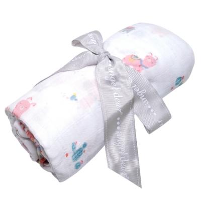 美國 Angel Dear 竹纖維嬰幼兒包巾禮盒 (粉紅草泥馬)