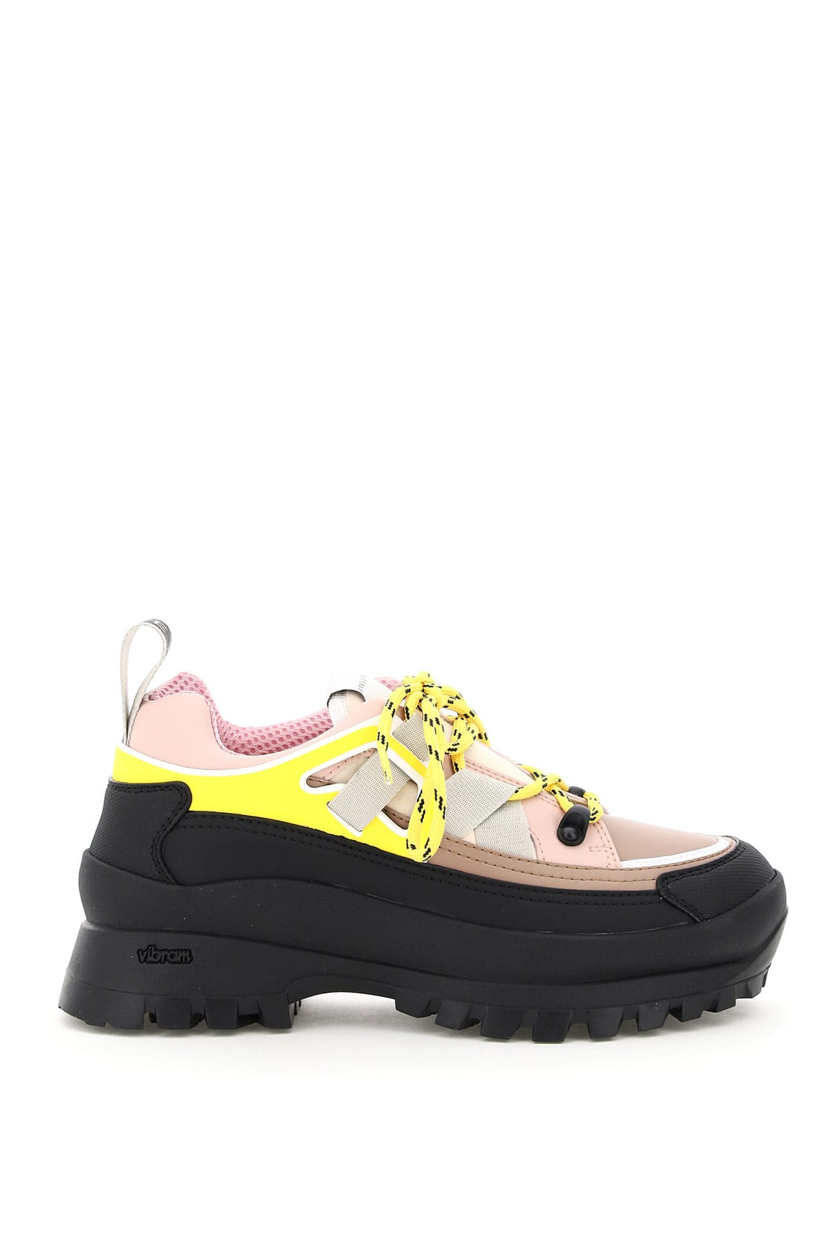 STELLA McCARTNEY MULTICOLOUR LACE-UP SHOES 40 Yellow, Black, Pink Faux leather