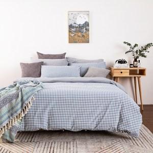 Hoi!水洗棉床包被套枕套-雙人四件組-米萊藍