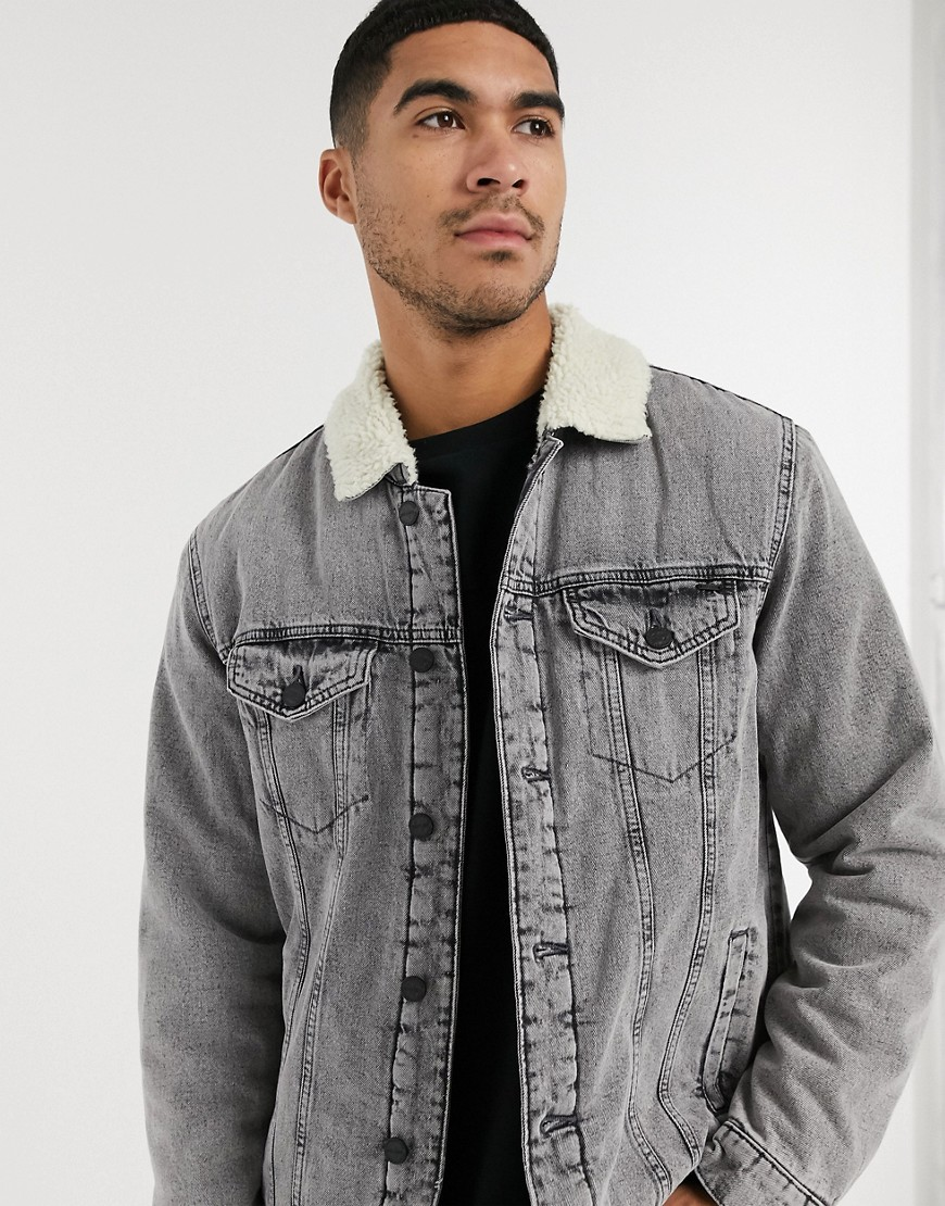 Only & Sons denim jacket with borg in grey