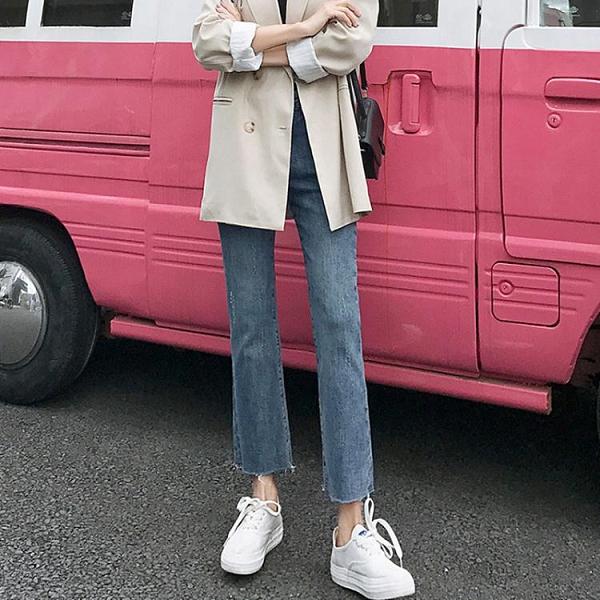 牛仔褲女秋裝2020年新款高腰小個子微喇叭九分百搭寬松直筒褲晴天時尚