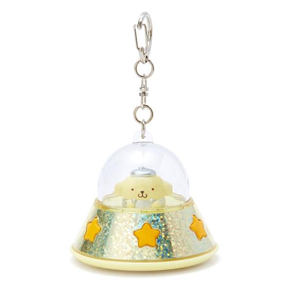 小禮堂 布丁狗 飛碟造型LED鑰匙圈 LED掛飾 發光吊飾 (黃橘) 4550337-37985