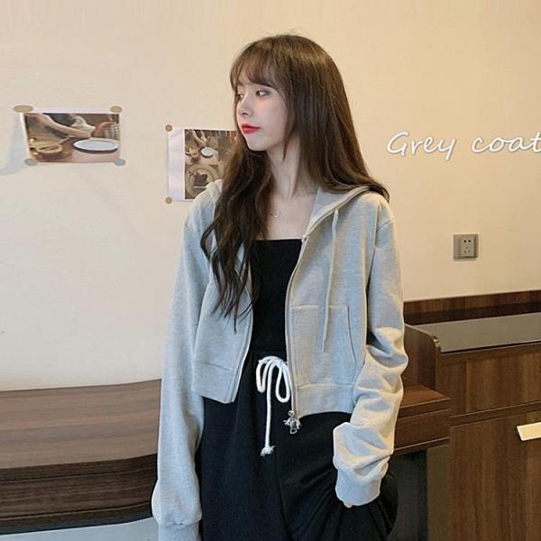 2020新款秋季網紅寬鬆韓版短款拉鏈開衫灰色長袖連帽連帽T恤外套女潮-完美