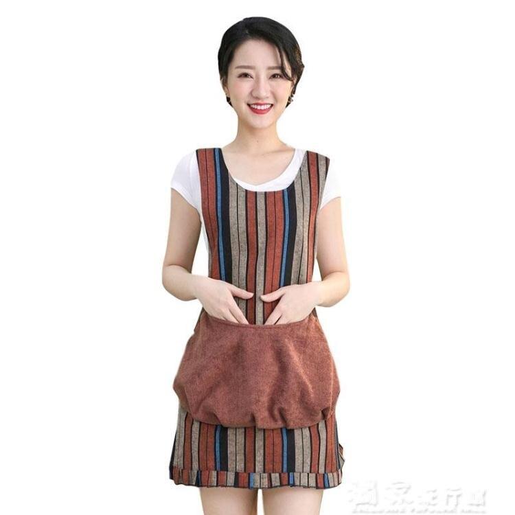 圍裙韓版時尚花邊大口袋廚房防水可擦手圍裙