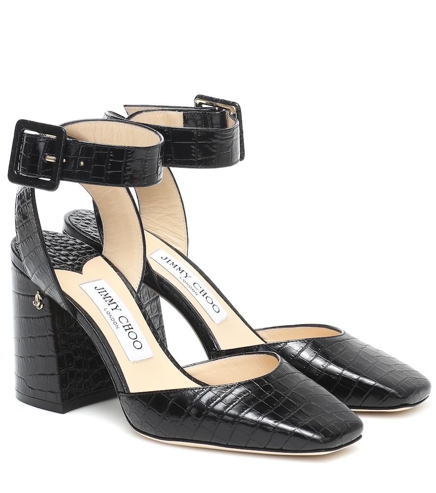 Jinn 85 croc-effect leather pumps