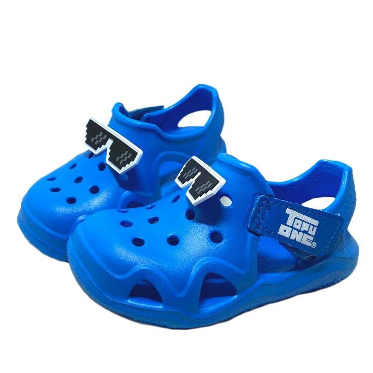 【滿額領券折$150】TOPUONE 創意墨鏡造型兒童兩穿輕量涼拖鞋 園丁鞋 布希鞋 [618351] 藍 MIT台灣製造【巷子屋】