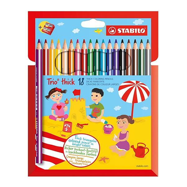 STABILO 德國 思筆樂 繽紛樂三角筆身油性色鉛筆 18色組 / 盒 203/2-18