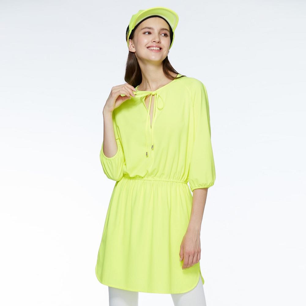 【HOII后益】抽繩七分袖洋裝(三色:黃/紅/藍)