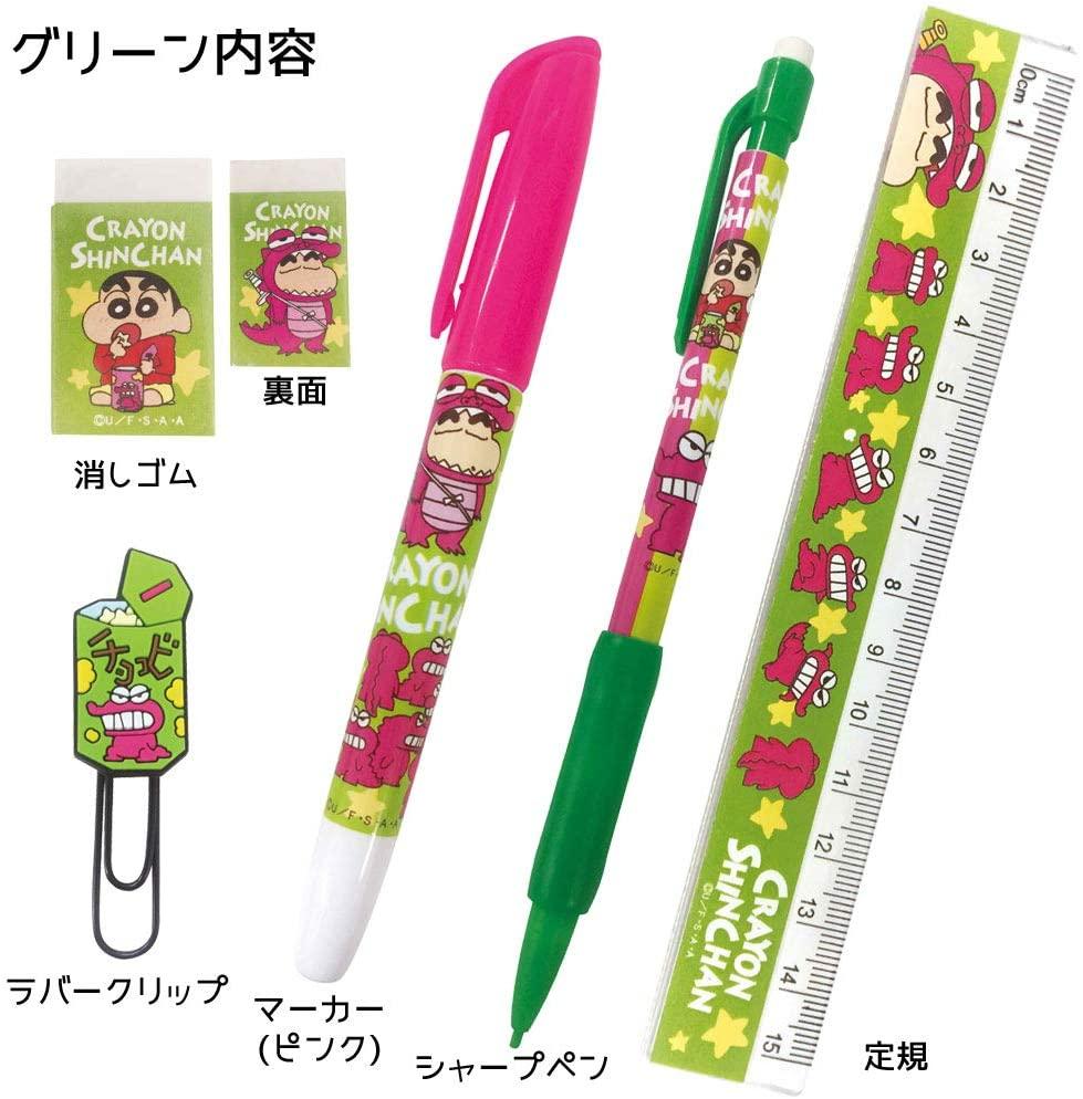 五件文具組福袋-恐龍餅乾 K-8729 蠟筆小新 CRAYON CHANSHIN 日本進口