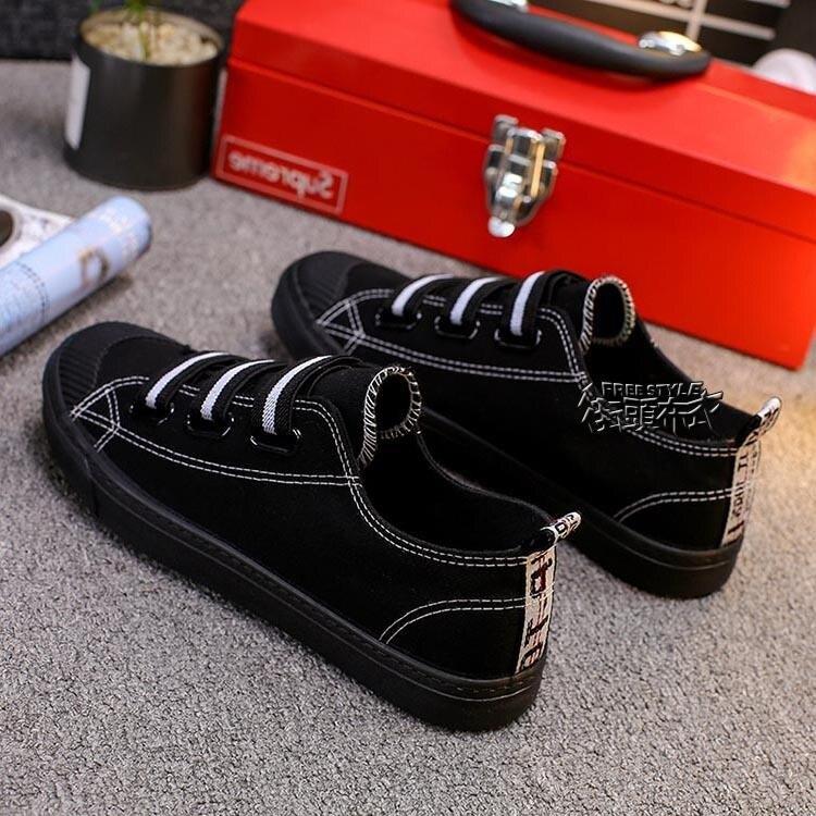 2020新款帆布鞋男女平底一腳蹬韓版懶人鞋學生板鞋全黑色球鞋