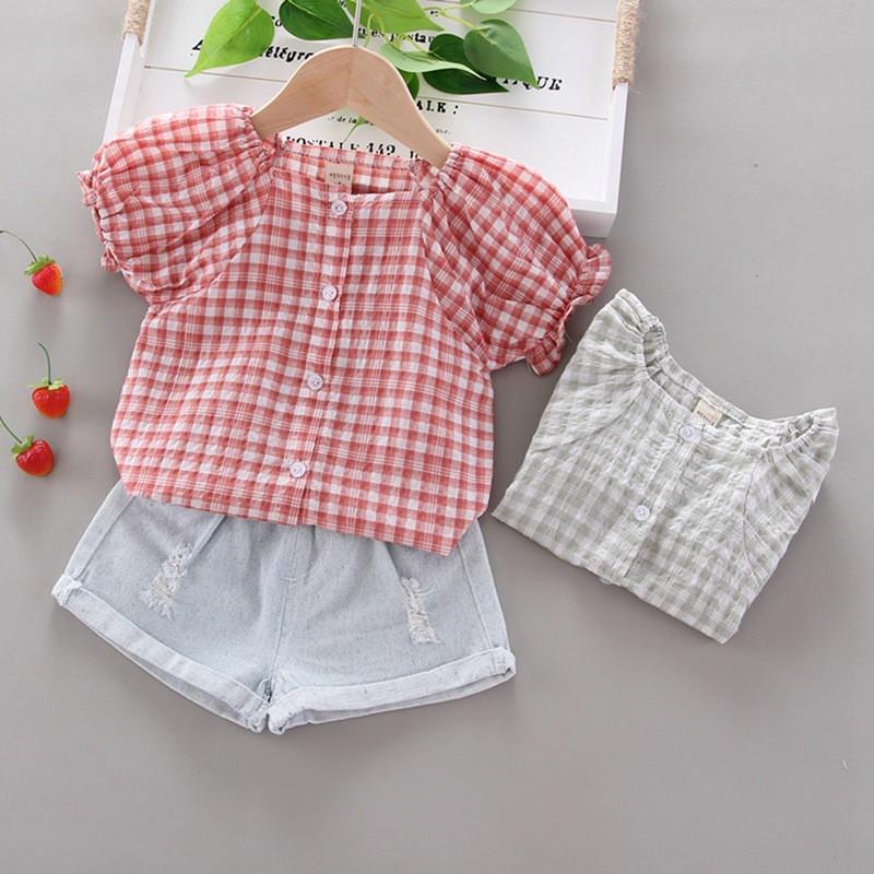 女童夏季格子短袖 泡泡袖T恤上衣+牛仔短褲 洋氣休閒兩件套裝【IU貝嬰屋】