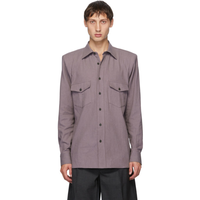 Dries Van Noten 紫色垫肩衬衫