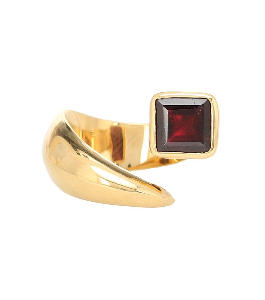 Alien gold-vermeil ring with garnet