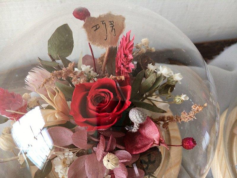 【好花】不凋玫瑰微景觀玻璃花球盅 情人節禮物 生日 開幕 乾燥花