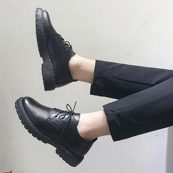 夏季英倫皮鞋休閒商務正裝黑色