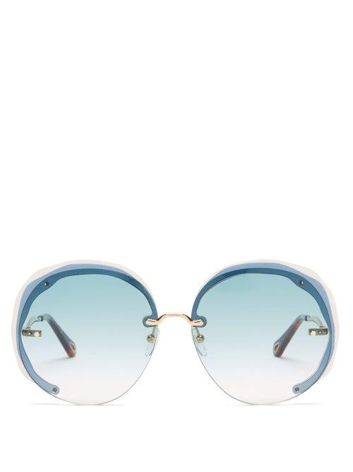 Chloé - Elaia Oversized Round Metal Sunglasses - Womens - Blue