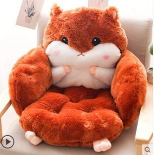 坐墊 倉鼠坐墊辦公室久坐一體靠背座椅墊加厚椅子連體護腰靠墊懶人腰椎