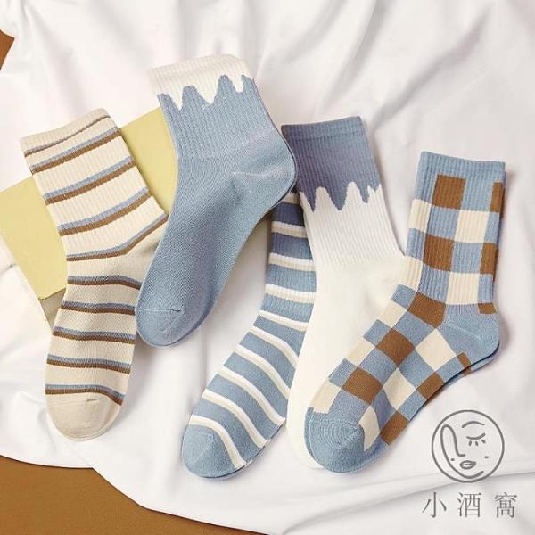 4雙裝復古街頭純棉襪女中筒襪潮格子條紋長襪男薄款【小酒窩服飾】