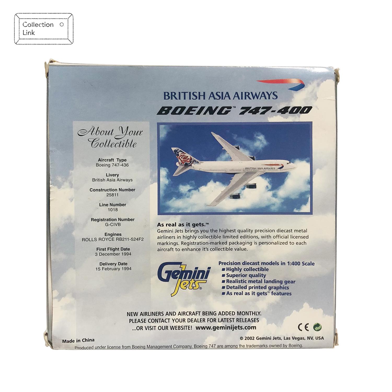 GEMINI JETS 1:400 British Asia Airways Boeing 747-400 飛機模型【Tonbook蜻蜓書店】