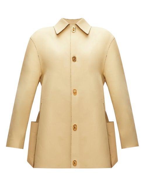 Bottega Veneta - Raw-edged Cotton-gabardine Jacket - Womens - Light Yellow