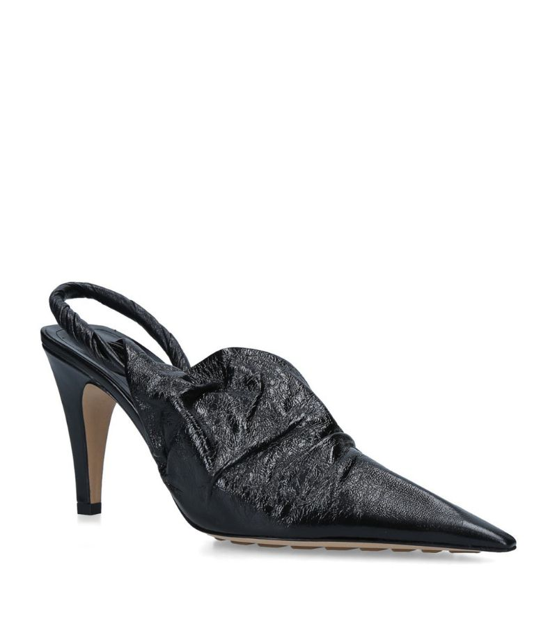 Bottega Veneta Leather Bv Point Slingback Mules 90