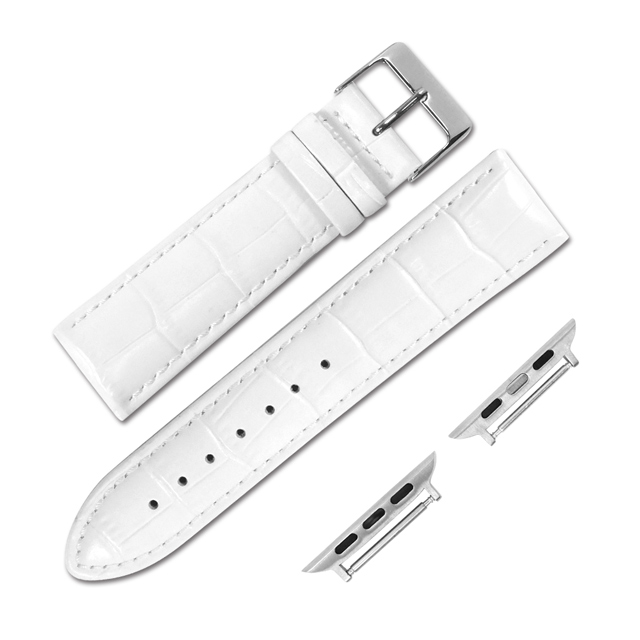 Apple Watch / 38.40.42.44mm / 蘋果手錶替用錶帶 蘋果錶帶 柔軟壓紋 真皮錶帶 白色 #601-03-WE