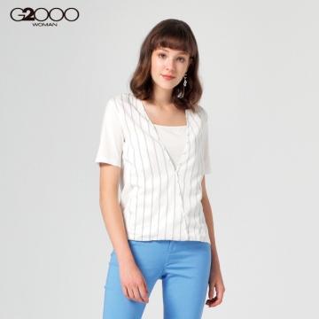 G2000條紋短袖休閒T裇-白色