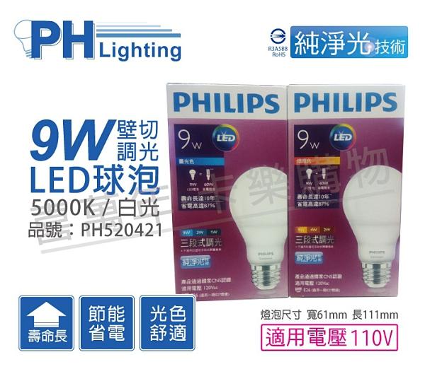 PHILIPS飛利浦 LED 9W 5000K 白光 E27 110V 三段可調光 球泡燈 壁切 _ PH520421