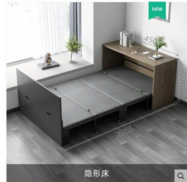 折疊床 隱形折疊床轉角書桌書櫃一體多功能小戶型家用超省空間伸縮午休床 城市科技DF