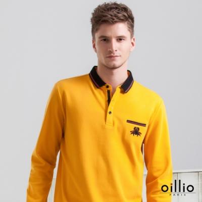 oillio歐洲貴族 男裝 長袖純棉休閒POLO衫 細膩舒適透氣織法不悶熱 吸濕排汗 造型一字袋設計 簡約有型 黃色