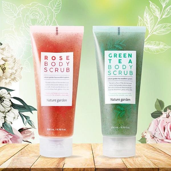 韓國 Nature Garden 綠茶淨化/玫瑰亮白 身體去角質凝膠 200ml 款式可選 去角質霜【小紅帽美妝】