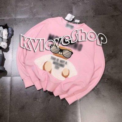 KVLOVE SHOP-Y〥外貿出口單 日系可愛墨鏡熊寶刺繡粉/藍色男女穿長袖T 2色〥特價