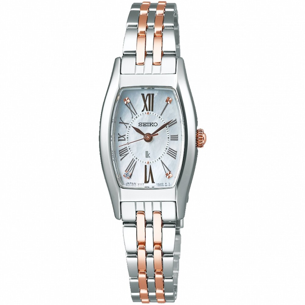 SEIKO 精工 LUKIA 太陽能真鑽酒桶型腕錶/銀X玫瑰金/19.8mm (V117-0EE0KS/SUP439J1)