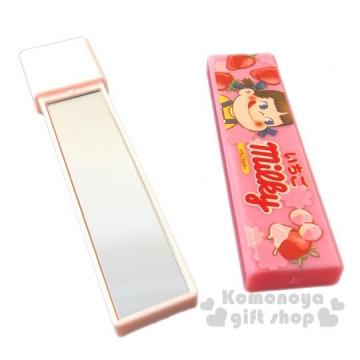 不二家PEKO 日製長條型隨身雙面鏡《粉.草莓》放大鏡.隨身鏡