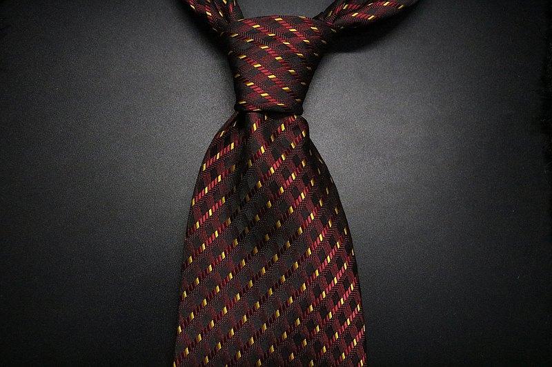 棗紅色網格紋色織領帶/高端商務紳士necktie