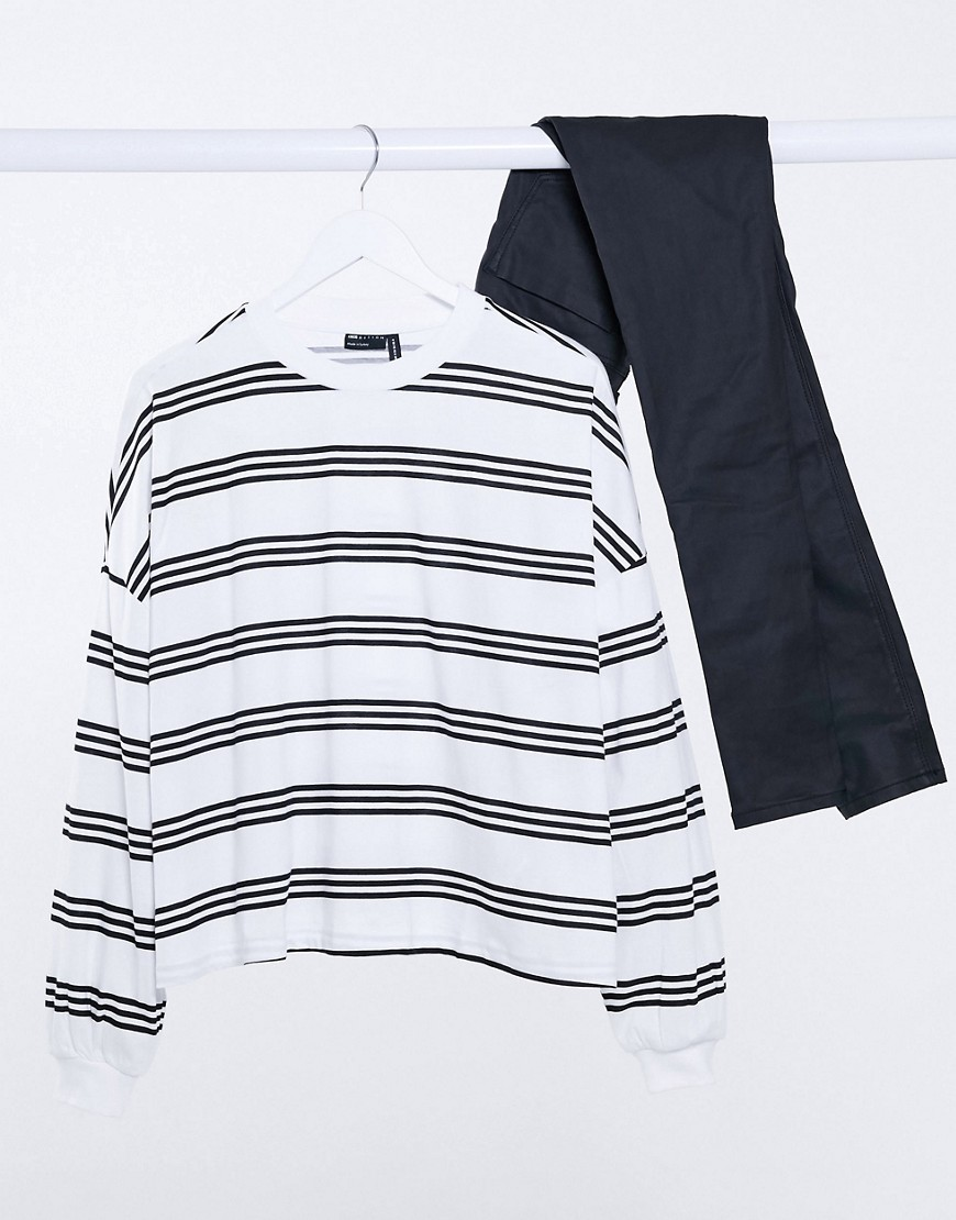 ASOS DESIGN boxy long sleeve t-shirt in white and black stripe-Multi