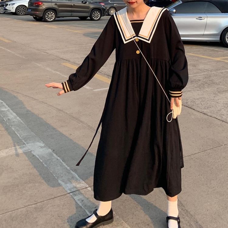 M-4XL大尺碼衣著 女裝春季新款法式復古顯瘦海軍領中長款裙子胖MM長袖洋裝女