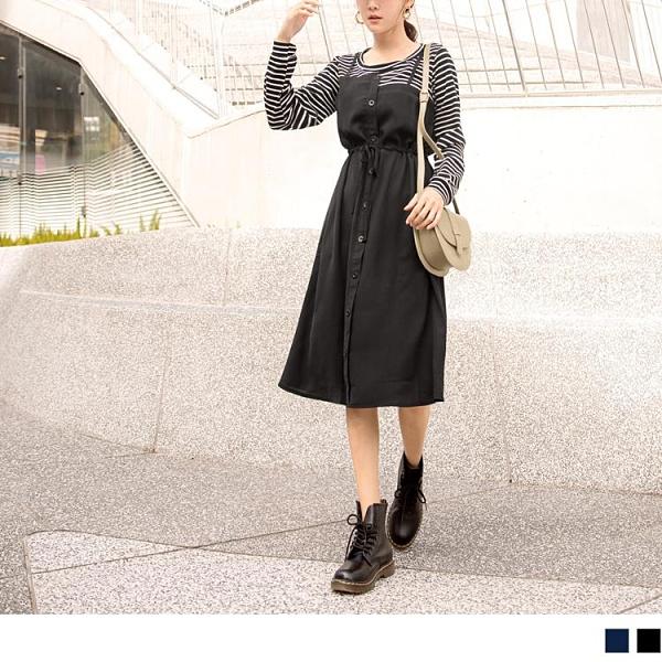 《DA8005-》假兩件條紋不對稱排釦收腰綁帶長袖洋裝 OB嚴選