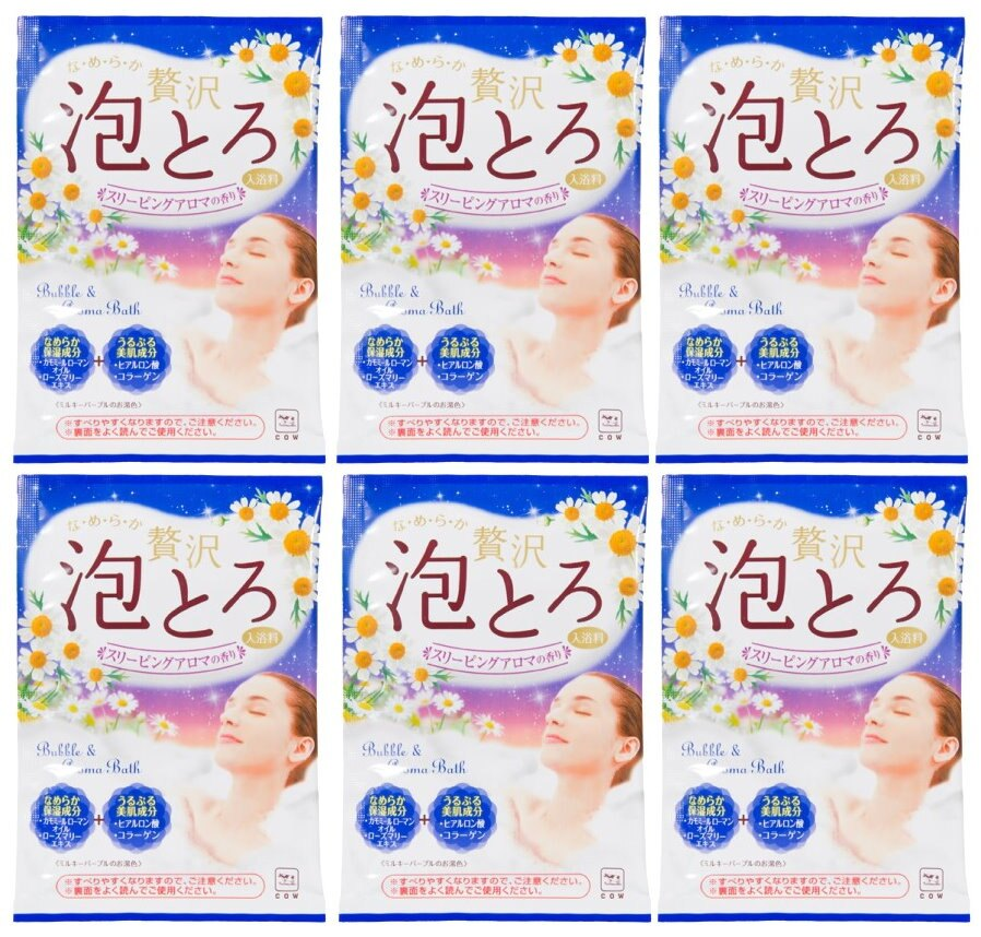 日本製 COW 牛乳石鹼 奢侈泡泡入浴劑(藍-洋甘菊香)30g/包X6 濃密泡泡*夏日微風*