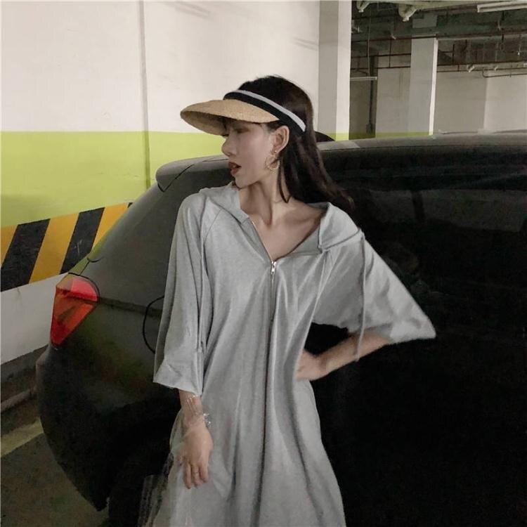 搶先福利 連帽T恤 胖MM300斤寬鬆中長款洋裝夏裝新款大碼女裝240斤連帽短袖T恤女 夏季狂歡爆款