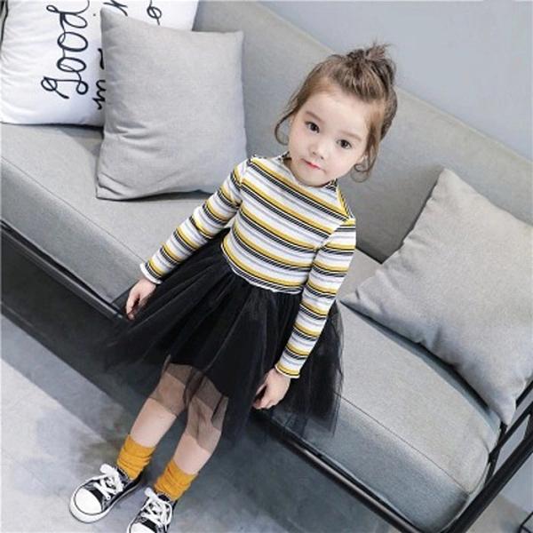 女童休閒裙韓版春秋洋裝 可愛女寶寶連身裙四色條紋上衣蕾絲紗裙  店慶降價