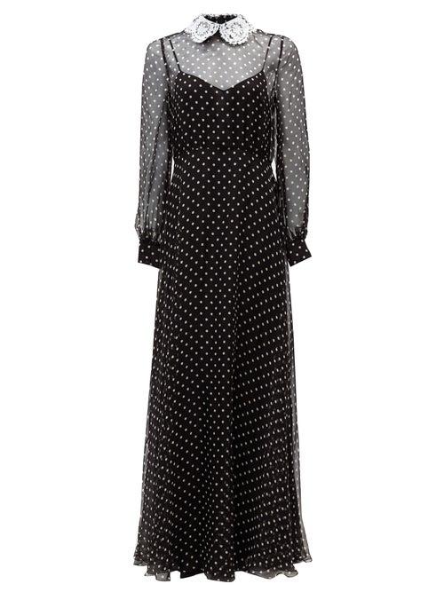 Valentino - Lace-collar Polka-dot Chiffon Gown - Womens - Black White