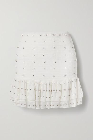 Retrofête - Lucille 水晶缀饰平行绉缝真丝顺纡绉迷你半身裙 - 白色 - x small