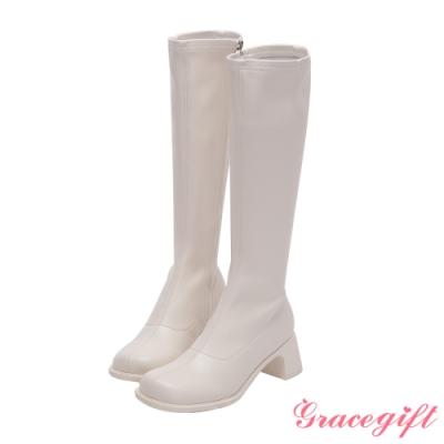 Grace gift-ETUDE leather shop-時尚造型中跟長靴 白