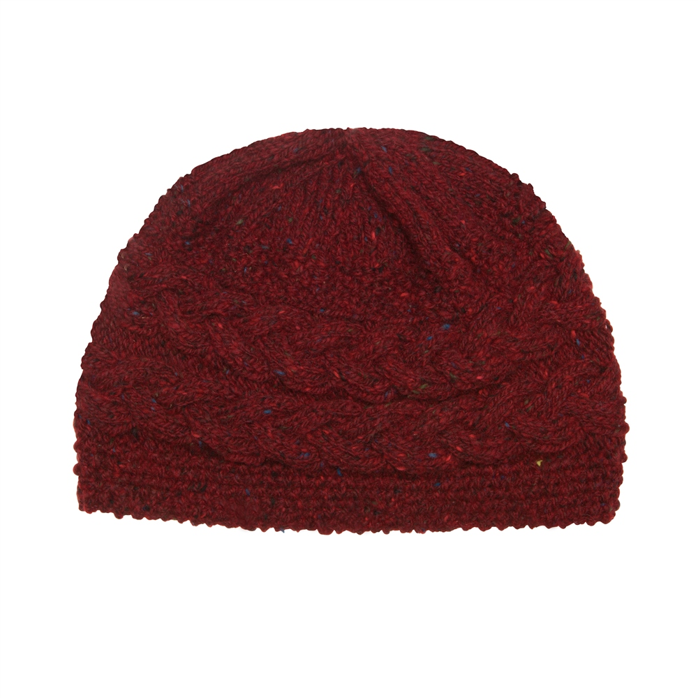 Magee 1866 Burgundy Donegal fleck Handknit Aoife Cable Hat