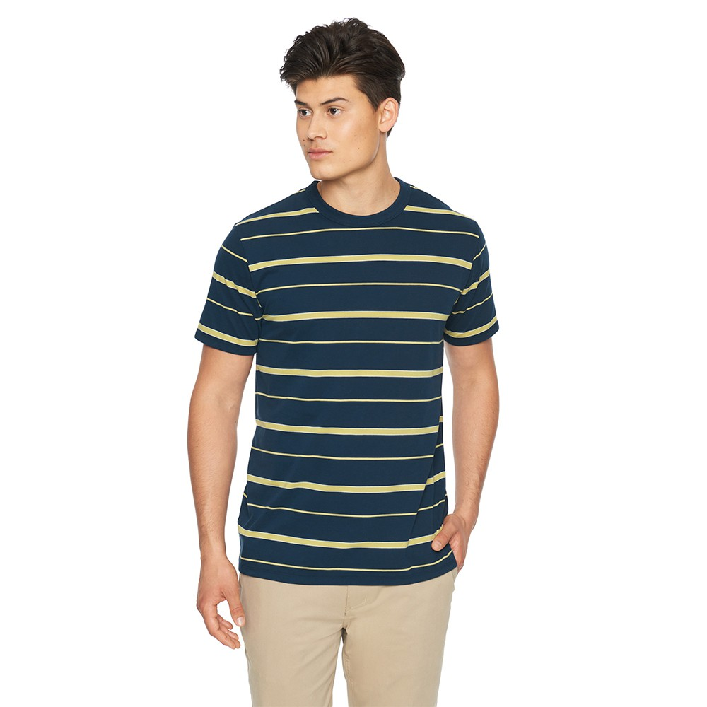 Hurley M DF HARVEY STRIPE PATCH SS OATMEAL HEATHER T恤-(條紋)