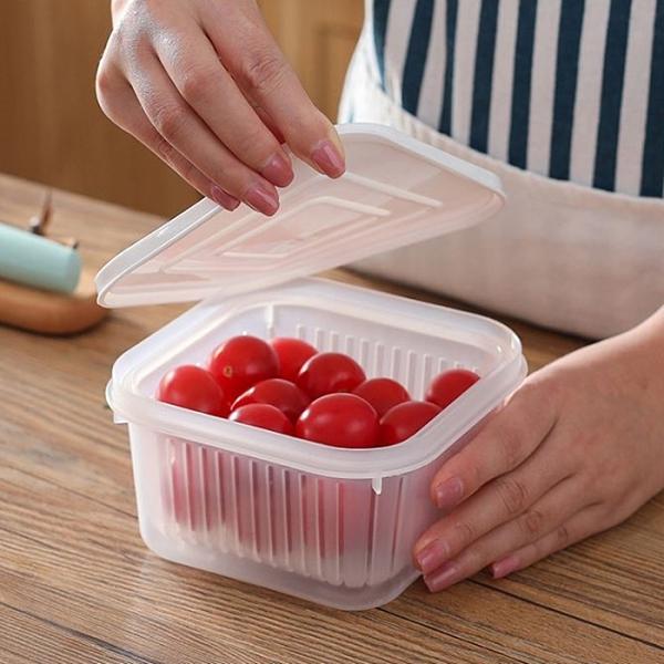 方形蔥花雙層保鮮盒 瀝水籃 瀝水盒 蔥花盒 透明 佐料 露營 烤肉