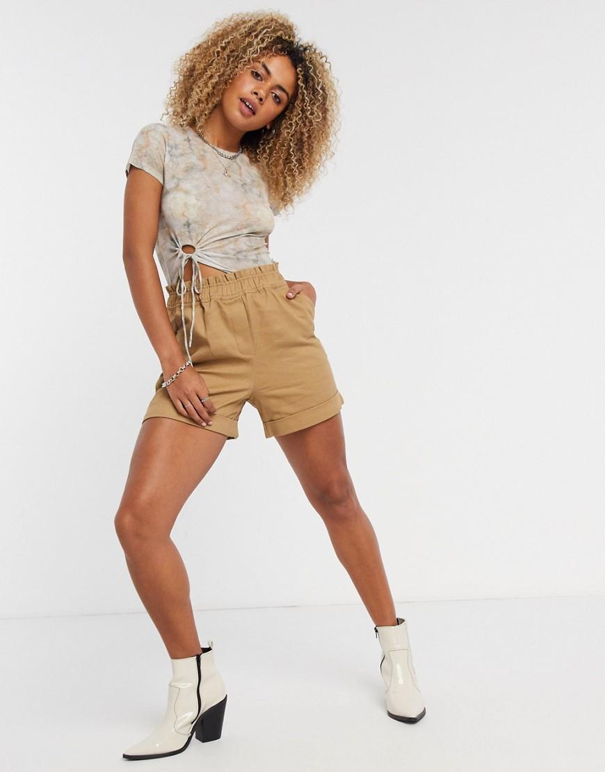 Vila safari shorts in tan-Brown